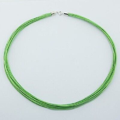 Choker necklace green cotton 925 silver polished clasps on 12 woven strands