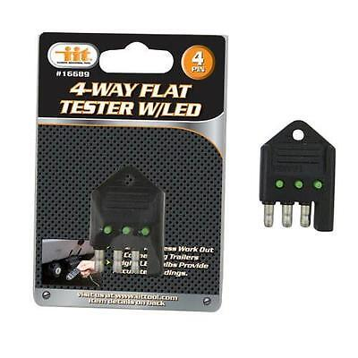 Truck Trailer Plug Tester 4 Way Flat Pin Circuit Fuse Wire Light Tester 16689