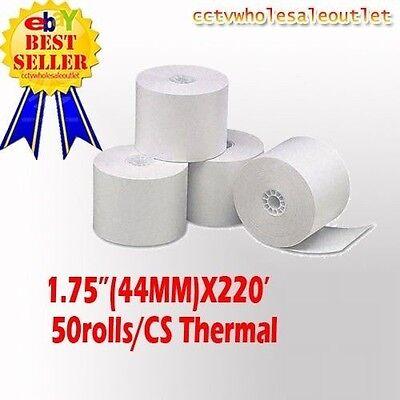 44mm 1-34 X 220 Thermal Cash Register Paper - 1 Case50 New Rolls Free Sh