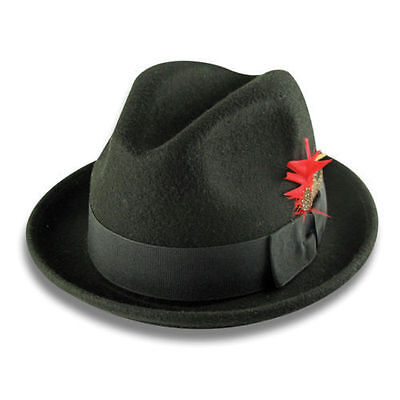 New Men 's 100% Wool Fedora Trilby Hat Style LH-1 Size S M L XL - Fedora Style Hats