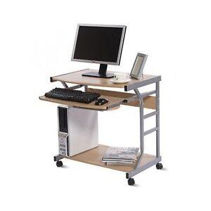 Details about Compact Mobile Computer Desk Wheels Sliding / Pullout