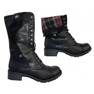 Women's SODA ORALEE Black Laceup Faux Leather Fashion Combat Boots ...