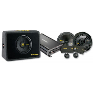 Kicker subwoofer, amp and speaker package for Jeep Wrangler