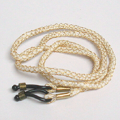 Braided String Cord for Eyeglasses and Sunglasses White Gold