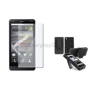 NEW FOR MOTOROLA DROID X & X2 SHELL HOLSTER CASE+LCD Premium COMBO VERIZON