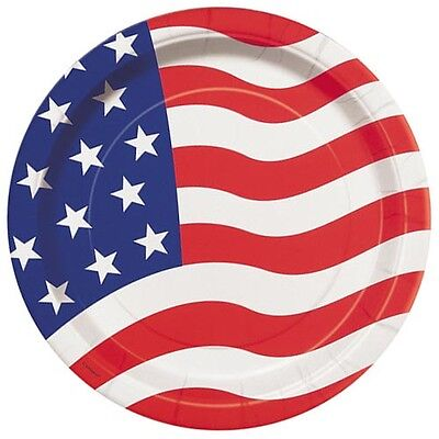 4th of JULY AMERICAN FLAG SMALL PAPER PLATES (8) ~ Birthday Party Supplies - 4th Of July Paper Products