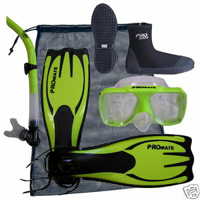 Scuba Dive Silicone Mask Goggle Snorkel Boots Fins Flippers Bag Package Gear Set ()