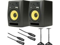 KRK ROKIT 8 G2 SPEAKERS / STANDS