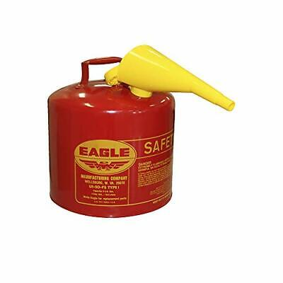 Eagle 5-Gallon Metal Gasoline Can Red Gas Fuel Tank Steel NEW Pour Spout Liquids