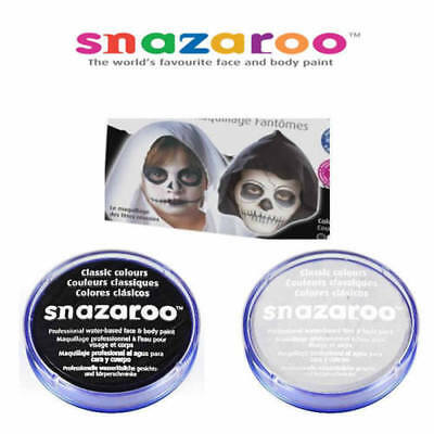 Black & White SNAZAROO Make up Face Body Paint Halloween 18ml Skeleton Ghost