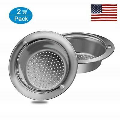 US 2 Pcs Kitchen Sink Drain Strainer Handle Stainless Steel Mesh Basket Filter