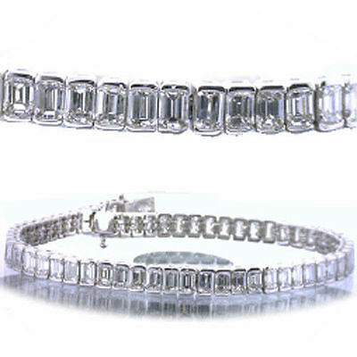 11.20 carat Emerald Cut Diamond Tennis Bracelet, 14k Gold F color VS1 clarity