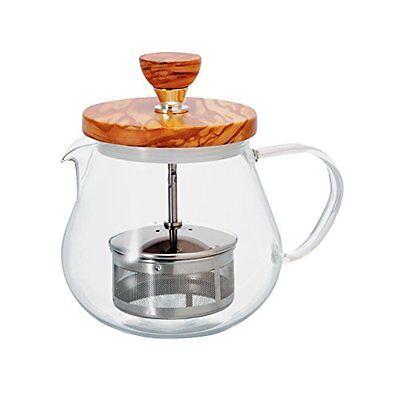 Hario Glass Teapot Tea Infuser Olive Wood Lid 450ml/14fl oz