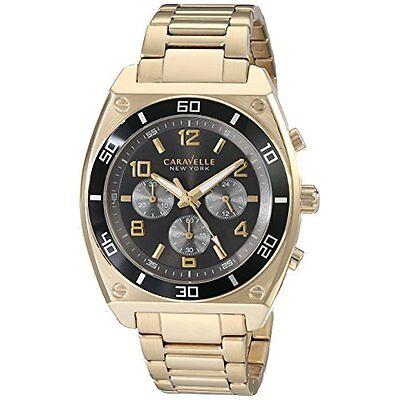 Caravelle New York Men\s 45A111 Analog Display Japanese Quartz Gold Watch