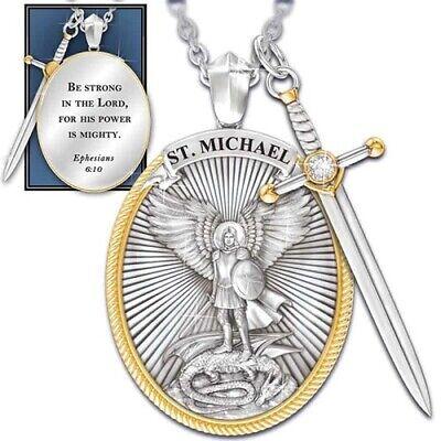 Catholic Patron  The Archangel St. Michael  Pendant Necklace with sword