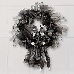 black halloween skeleton gothic front door wreath gothic halloween home decor - Ebay Halloween Decorations