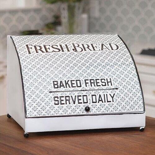 New Primitive Farmhouse Shabby Chic Retro VINTAGE FRESH BREAD BOX White Gray