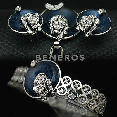 Unique Leopard Earrings Necklace Bracelet Animal Cat Silver Gift Jewelry Set