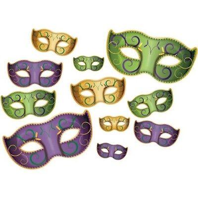 Mardi Gras Mask Cutouts Decorations 11 pack Mardi Gras Party Decorations - Mardi Gras Mask Cutout
