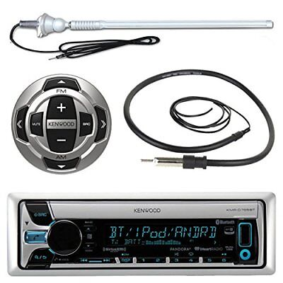Kenwood KMRD772BT Marine CD Bluetooth Radio,Kenwood Wired Remote,Marine Antenna