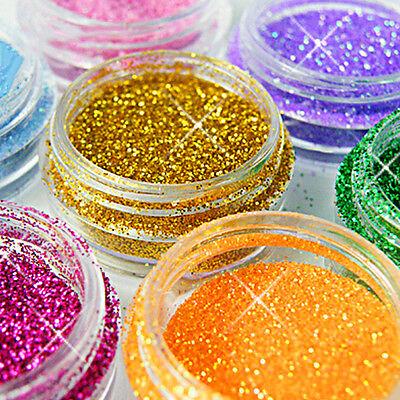 12 Colori Decorazione artistica Unghie Polvere Glitter Set per gel uv acrilico