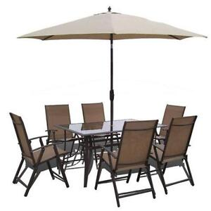 Patio set ebay for Garden table and chairs with umbrella