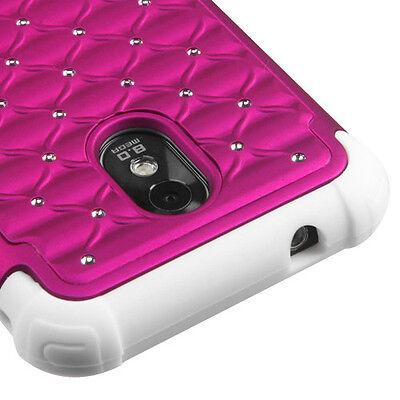 Sprint Samsung Galaxy S2 4G Hybrid Spot Diamond Case Skin Cover Hot Pink White