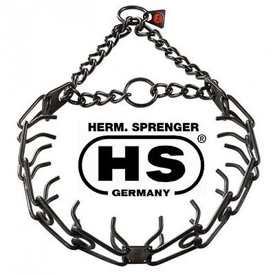 "Sprenger Black Stainless Steel 3.9mm Pinch / Prong Dog Collar Fits to 25"" neck"