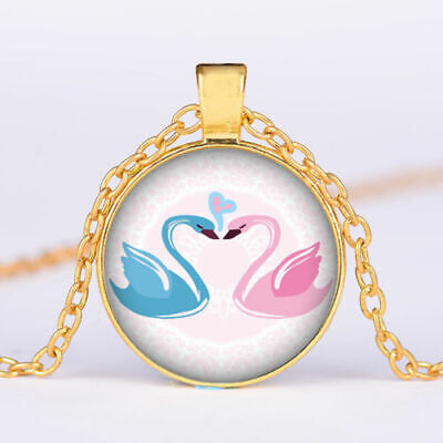 PINK BLUE SWAN YIN YANG charm pendant GOLD FILLED 18K necklace 20