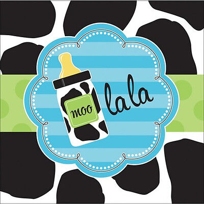 BABY SHOWER Cow Print Boy LUNCH NAPKINS (16) ~ Party Supplies Serviettes Blue (Cow Print Party Supplies)