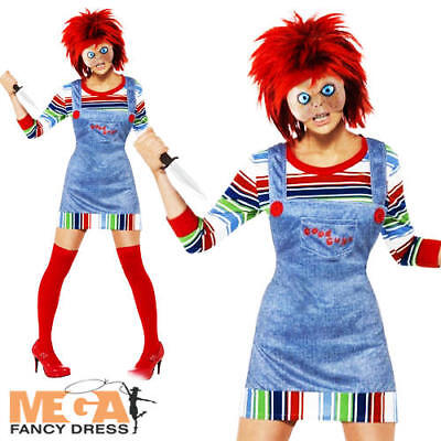 Chucky Ladies Halloween Fancy Dress Horror Film Adults Womens Costume Outfit New (Chucky Womens Halloween Costume)