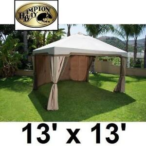 NEW 13'x13' GAZEBO HOUSE 5LGZ5677-FR 198013662 HAMPTON BAY SEYCHELLES CANOPY PATIO FURNITURE
