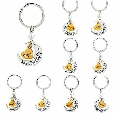 """New Chic Family """"I LOVE YOU TO THE MOON AND BACK """" keychain Key Ring Set Charms"""