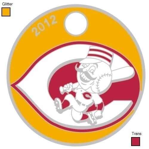 baseball CINCINNATI REDS RARE LIMITED EDITION PATHTAG w/gold glitter & red trans