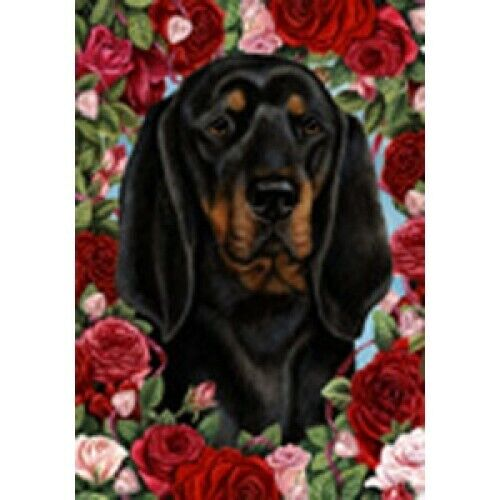 Roses House Flag - Black and Tan Coonhound 19402
