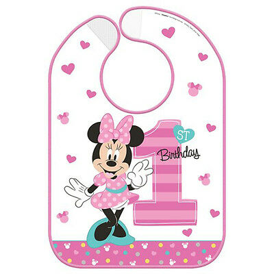 Minnie Mouse 1st Birthday Bib (MINNIE MOUSE Fun to Be One PLASTIC BIRTHDAY BIB ~ First Party Supplies 1st)