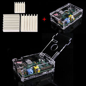 Raspberry PI Transparent Acrylic Case Enclosure Computer Box + Heat Sink Kit T7