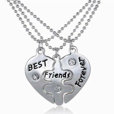 BFF Steel Heart Shape Matching 3 Piece Best Friends Forever (Best Friends Forever Necklace 3 Piece)