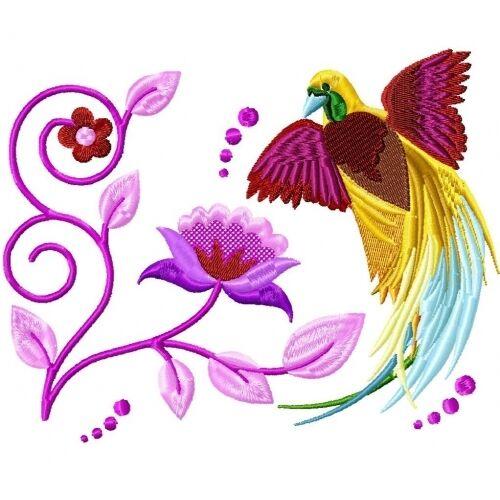 Embroidered Sweatshirt - Delicate Birds PE09