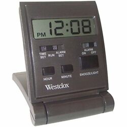 Westclox Travelmate Travel Clocks Folding Alarm Clock 1/2-inch LCD Digital