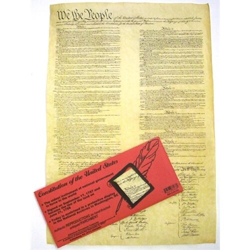 Historic Document REPLICA CONSTITUTION  OF THE U.S.A Genuine Parchment new 37278