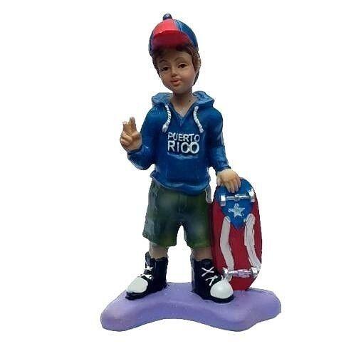 "Puerto Rico Flag W/ Skateboard Home Decorative Boy Souvenirs 6"" Inches"