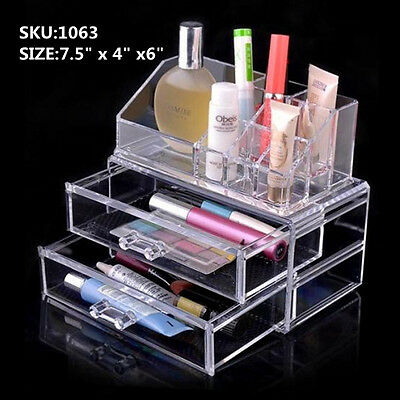 Luxury Acrylic Cosmetic Organizer Makeup Box 2 Drawers Top and Bottom -