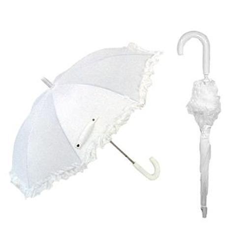 "DELUXE WHITE Rain Sun Ruffled 32"" KIDS Parasol Umbrella NEW 2025"
