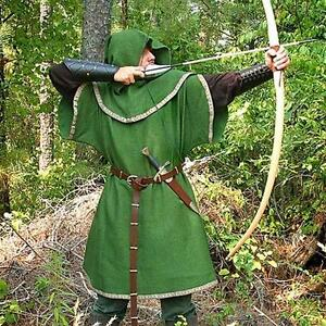 ROBIN-HOOD-Bandit-of-Sherwood-Forest-GREEN-ARCHER-Medieval-TUNIC-with-HOOD-New