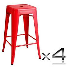 NEW Lees - Set of 4 Replica Tolix Kitchen Bar Stool 66cm Red Berwick Casey Area Preview