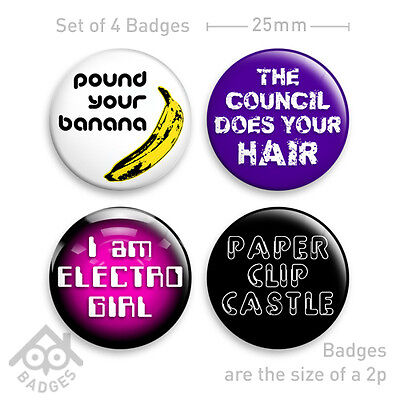 """MIGHTY BOOSH Paper Clip Castle ELECTRO GIRL 1"""" Badge - Set of 4 x 25mm Badges"""