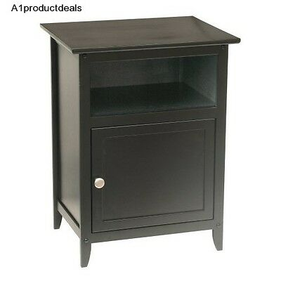 Modern Black Winsome Wood End Side Night Stand Table w/ Door