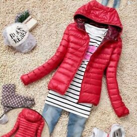 BNWT NEW Women Girl Teenager Warm RED Thin Slim Hooded Coat Jacket UK 10 M