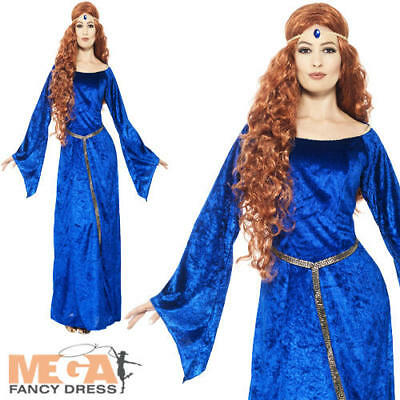 Blue Medieval Maid Ladies Fancy Dress Princess Adults Marian Costume Outfit New](Maid Marian Outfit)